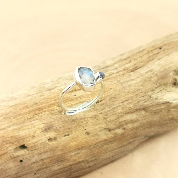 Open Front Raw Stone Ring 925 Silver Rainbow Moonstone, Adjustable Raw Stone Ring