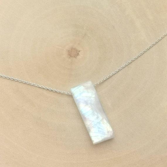 Rainbow Moonstone Dainty Stone Charm on 925 Silver Chain
