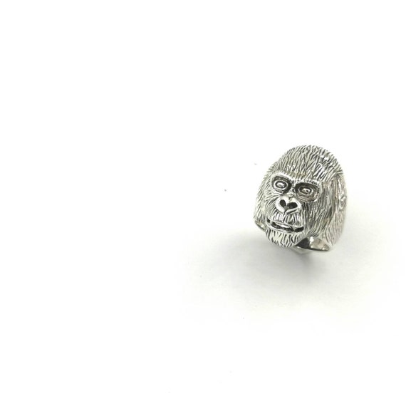 925 Silver Monkey Head Ring, Monkey Ring, Ape Ring, Animal Head Ring, Men Ring