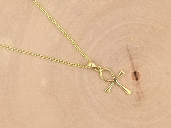 Ancient Tribal Christian Cross Pendant 18k Gold Plated 925 Silver