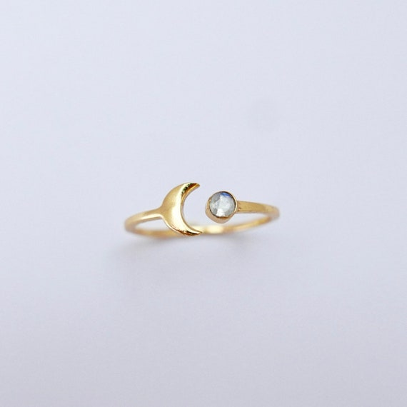 Half Moon with Stone 18K Gold Plated 925 Silver Ring, Moonstone/Peridot/Iolite