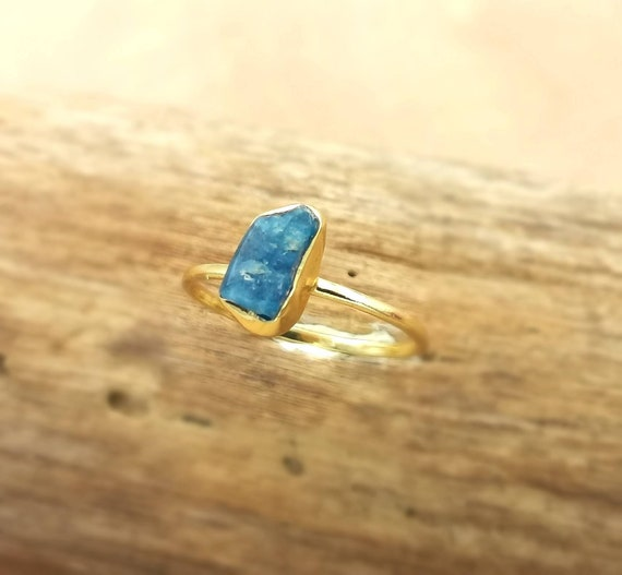 Simple Raw Stone Ring 18k Gold Plated 925 Silver with Apatite/Amethyst/Peridot/Black Onyx
