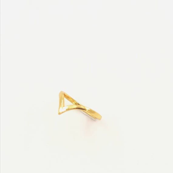 Simple Curved V 18K Gold Plated 925 Silver Ring, Minimalist Gold Ring, Stackable Simple Twist Ring