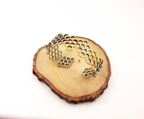 Golden Honeycomb Bracelet, Hexagon Bracelet, Boho Bee Hive Bracelet, Unisex Bracelet
