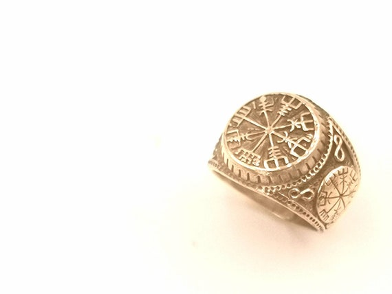 Vegvisir Signet Ring Gold, Fraternity Rune Ring, Viking Ring Brass