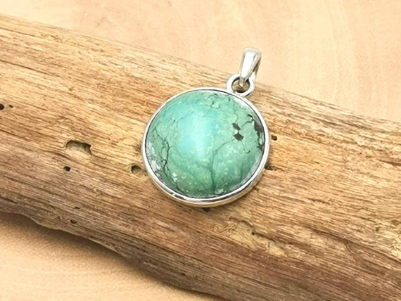 Round Natural Tibetan Turquoise 925 Silver Pendant with Chain
