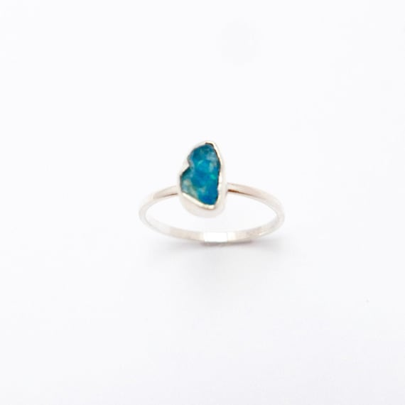 Simple Raw Stone Ring 925 Silver with Apatite/Amethyst/Peridot/Cornelian