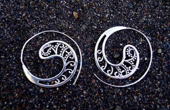 "Boho Spiral Earrings ""Dada Spiral"" Silver"