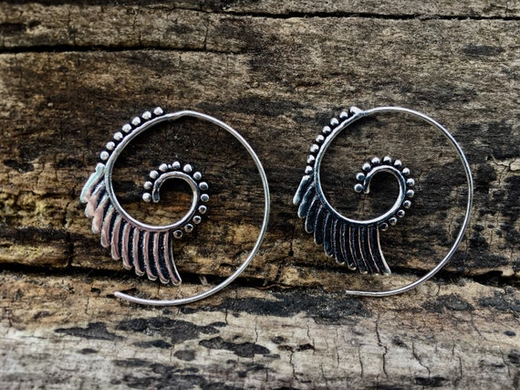 "Boho Spiral Earrings ""Egyptian Spiral"" Small Silver Plated"