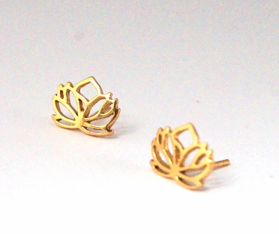 Lotus Flower Studs 925 Silver 18K Gold Plated, Flower Studs, Yoga Studs, Meditation Studs