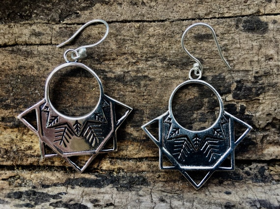 "Boho Earrings ""Partial Star"" Silver Plated"