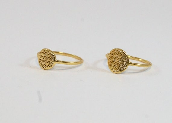 Flower of Life Ring Round, Silver/Gold, Small/Medium Flower of Life Ring, Sacred Geometry Ring