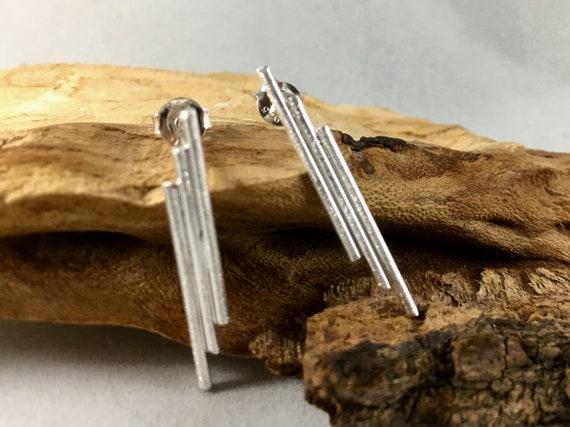 Asymetrical Bar Studs, 925 Silver