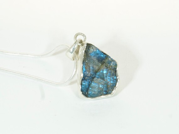 Raw Labradorite 925 Silver Pendant, Blue Fire Raw Labradorite Pendant, Includes 925 Silver Chain