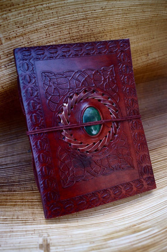 "Handmade Camel Leather Notebook with Stone (Chrysocolla,Tiger's Eye, Amethyst, Labradorite),""Arabian Labyrinth"",  5x7 Inches"
