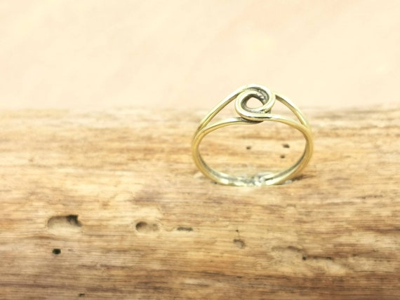 Golden Knot Brass Ring, Simple Boho Knot Ring
