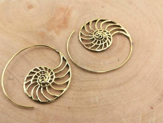 "Boho Spiral Earrings "" Snail Spiral"" Brass"