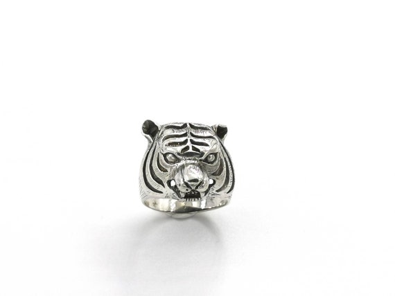 925 Silver Tiger Ring for Men, Cast Wild Cat Ring, Animal Ring for Men, Tiger Head Ring