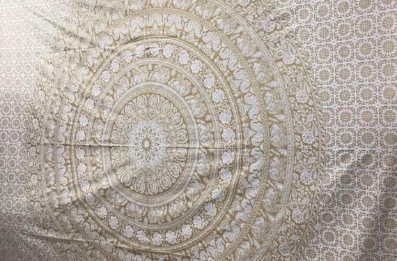 White and gold mandala throw custom order Antje