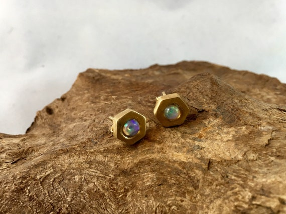 Hexagon Opal Studs, 925 Silver/ 18k Gold Plated, Opal or Moonstone