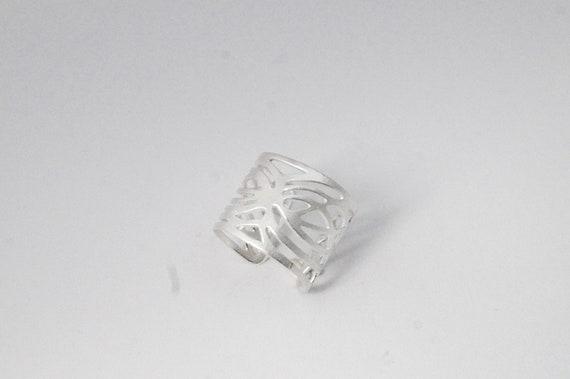 Asymmetrical Composition Silver Ring