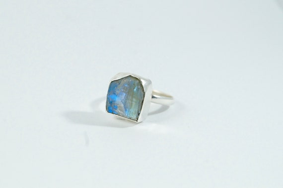 Raw Moonstone 925 Silver Ring, Adjustable Raw Stone Ring, Natural Rainbow Moonstone Ring