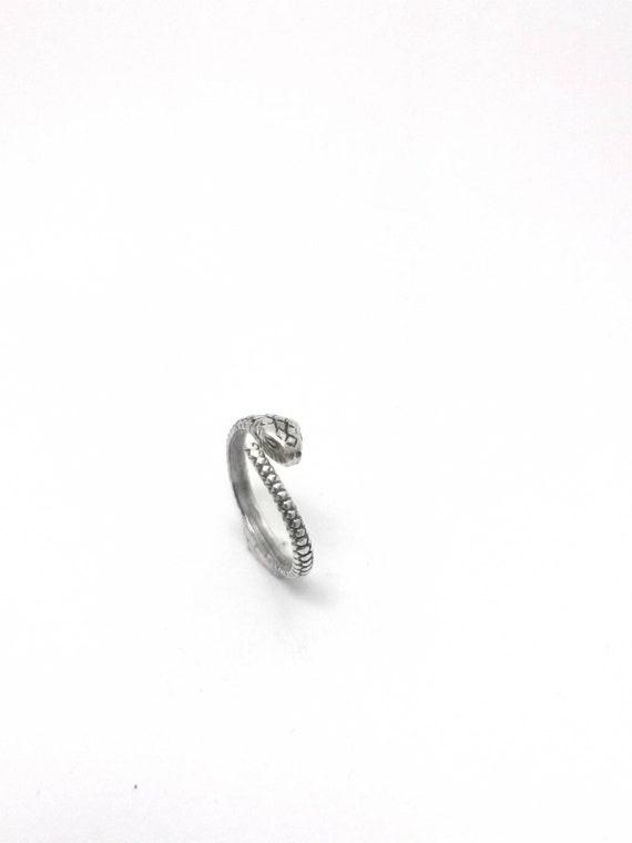 Fine Snake Ring 925 Silver Adjustable, Detailed Open Snake Ring