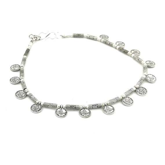 Silver Plated Tribal Anklet with Round Engraved Beads