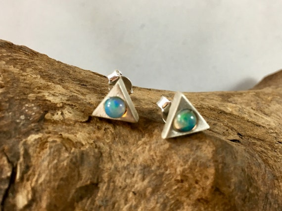 Triangular Opal/ Rainbow Moonstone Studs, 925 Silver or Gold Plated