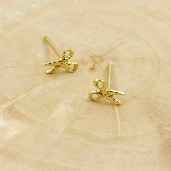 Tiny Scissor Studs 18k Gold Plated 925 Silver