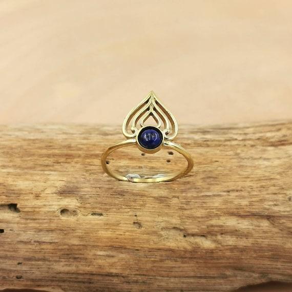 Golden Oriental Crown Boho Ring with Stone, Dainty Brass Ring with Labradorite/ Moonstone/ Black Onyx/ Lapislazuli