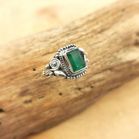 Classic 925 Silver Boho Ring with Rectangular Stone