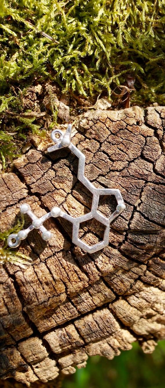 Psilocybin Molecular structure Necklace , Brass or Silver