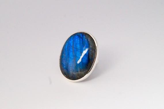 Oval Blue Labradorite Silver Ring
