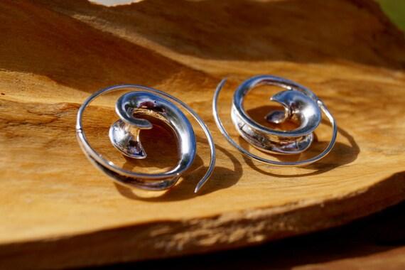 Flowing Curl Spiral Earrings Silver Plated, Boho Spiral Earrings