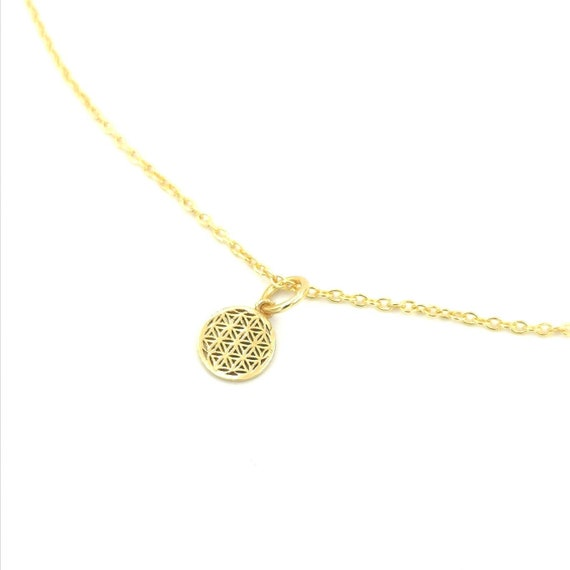 Tiny Flower of Life Charm 925 Silver 18k Gold Plated, Flower of Life Charm in 2 Sizes, Sacred Geometry Charm, Golden Flower of Life