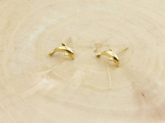 Tiny Dolphin Studs 18k Gold Plated 925 Silver
