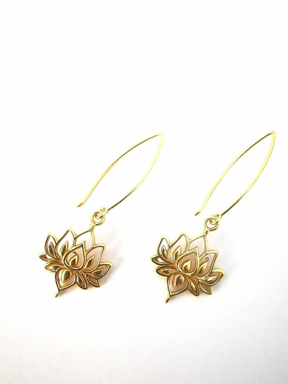 Lotus Flower Earrings 925 Silver 18K Gold Plated, Lotus Earrings