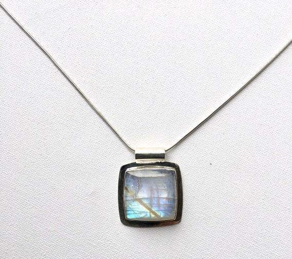 Square Rainbow moonstone Silver Pendant