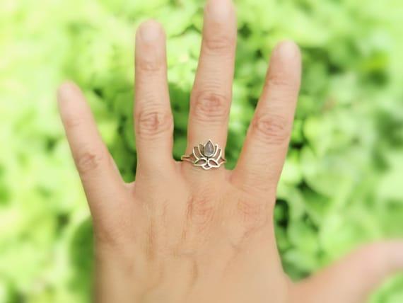 Lotus Flower Ring 925 Silver with Stone, Boho Lotus Ring