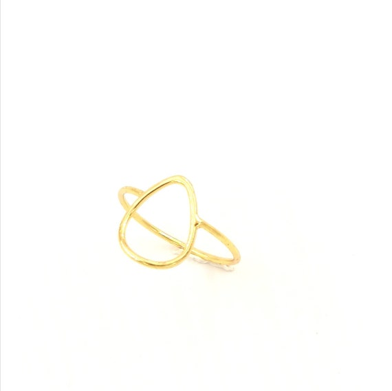 Thin Open Drop Geometrical Ring 925 Silver 18K Gold Plated,knuckle ring