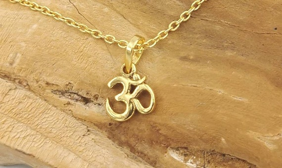 Tiny Om Golden Charm with Chain, 18k Gold Plated 925 Silver Charm with Chain