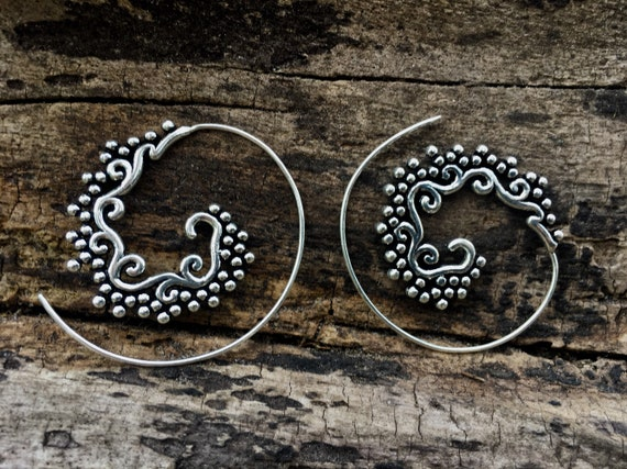 "Boho Spiral Earrings ""Oriental Blossom"" Silver Plated/ Brass"