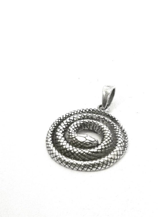 Curled Snake 925 Silver Pendant, Snake Silver Pendant with Chain