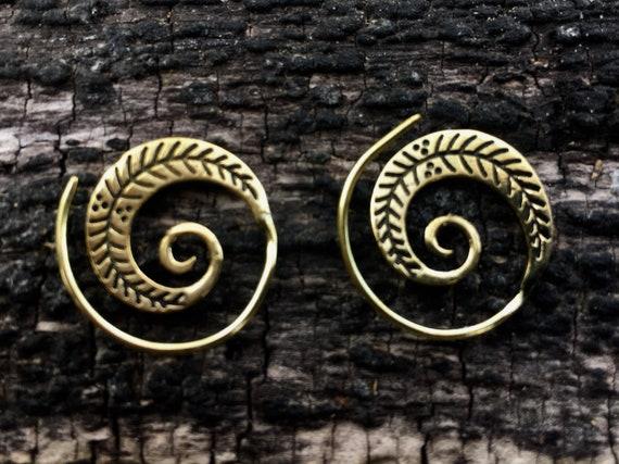 """Boho Spiral Earrings """"Little Feather"""" Brass"""