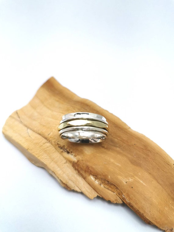 Hammered Spinning Ring 925 Silver and Brass, Men Spinning Ring with Three Spinning Elements, Meditation Ring, Multicolor Spinning Ring