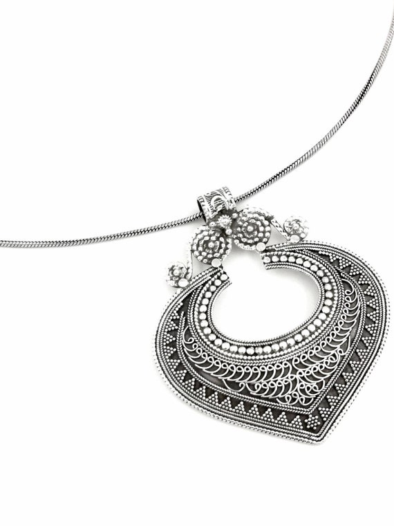 Boho 925 Silver Antique Tribal Pendant with Chain , Handmade Antique Pendant, Vintage Boho Pendant