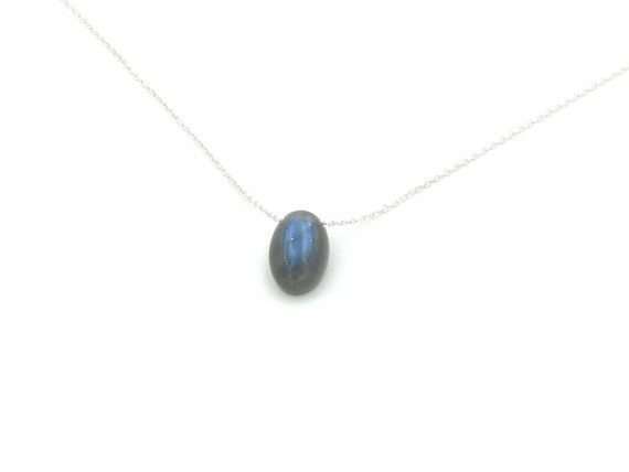 Blue Labradorite Stone Charm on 925 Silver Chain, Floating Labradorite Charm, Chain Through Stone Minimalist Necklace, Drilled Stone Charm