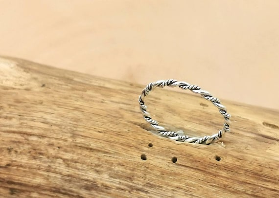 Thin Braided 925 Silver Ring, Stackable Thin Ring