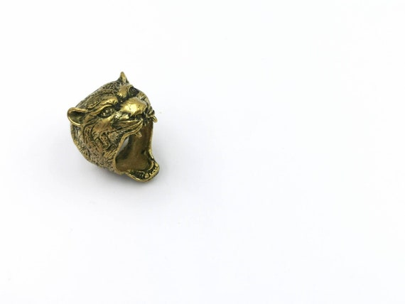 Jaguar Head Brass Ring, Roaring Jaguar Ring for Men
